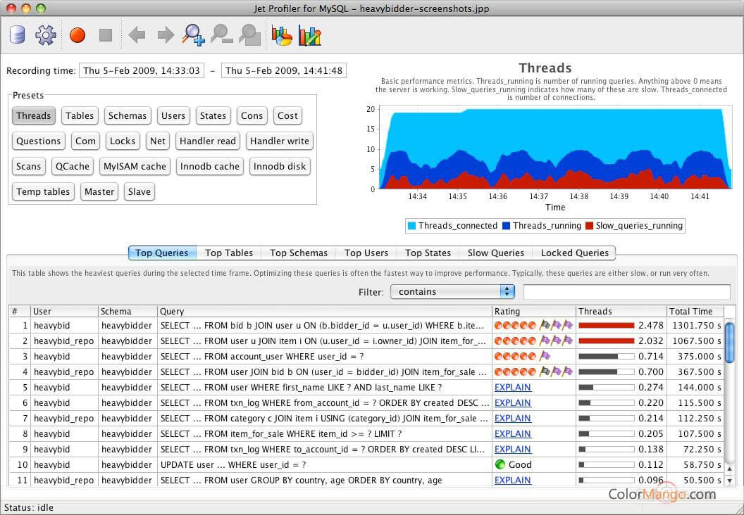 Jet Profiler for MySQL Screenshot