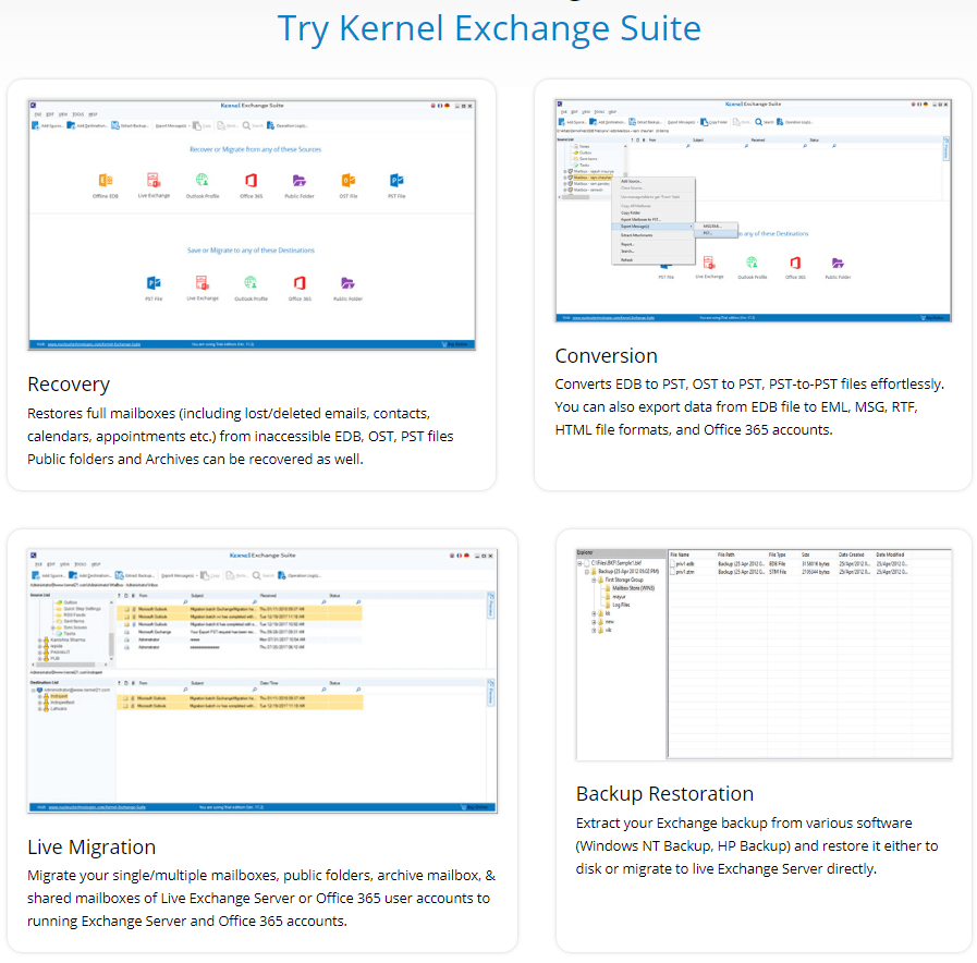 Kernel Exchange Recovery Suite Feature