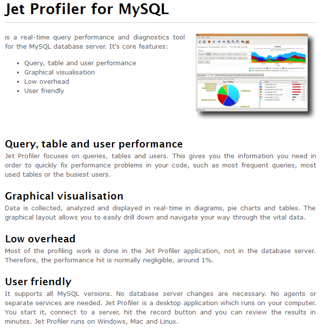 Jet Profiler for MySQL overview