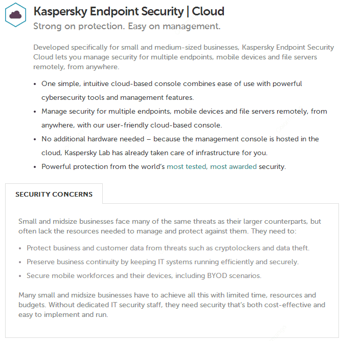 Kaspersky Endpoint Security for Business CLOUD key Features
