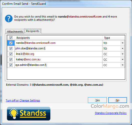 Standss SendGuard for Outlook スクリーンショット