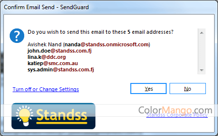 Standss SendGuard for Outlook Screenshot